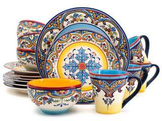 Euro Ceramica Zanzibar Multicolor 16 Piece Dinnerware Set  Service for 4  Retail 79 98