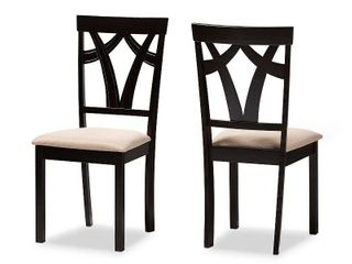 Set of 2 Sylvia Espresso Finished Dining Chair Sand Brown   Baxton Studio