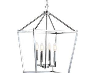 Pagoda 16  4 Bulb lantern Metal lED Pendant  Chrome by JONATHAN Y
