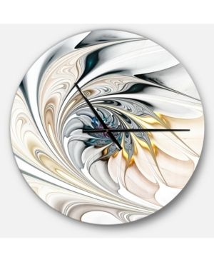 Designart  White Stained Glass Floral Art  Oversized Modern Wall Clock  Retail 132 99