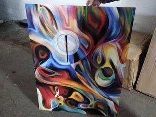 design art metal multi colored clock as is