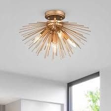 lorena Gold Finish Sputnik Metal Flush Mount with 5 lights  Retail 98 99