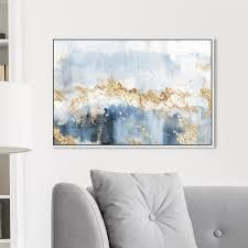 Oliver Gal Abstract Wall Art Framed Canvas Prints  Eight Days a Week  Watercolor   Blue  Gold  Retail 261 99