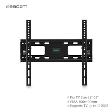32 65 Inch Flat Tilting TV Wall Mount with Spirit level   Black