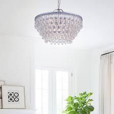 Silver Orchid Crystal 6 light Chandelier with Clear Teardrop Beads  Retail 197 99 matte silver