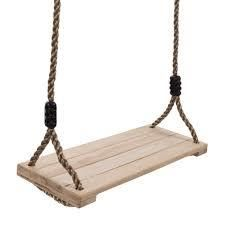 Wooden Swing  Outdoor Flat Bench Seat with Adjustable Nylon Hanging Rope for Kids Playset Frame or Tree Hey  Play
