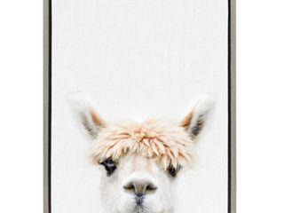 Sylvie Alpaca Bangs Animal Print Framed Canvas Art by Amy Peterson
