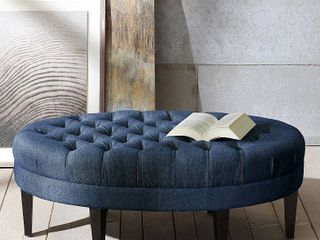 Madison Park Chase Blue Surfboard Tufted Ottoman  Retail 199 49