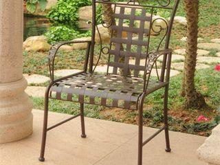 International Caravan Mandalay Iron Patio Dining Chair  Set of 2  Retail 214 99
