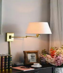 Copper Grove Anticosti Vintage Brass Wall Swing Arm lamp