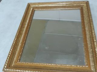 Framed Golden Mirror  Approx 17 5 by 14 5 inch