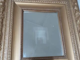 Framed Wall Mirror Gold  Approx 18 by 20 inch