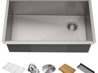 KRAUS Workstation 32 inch Undermount 16 Gauge Single Bowl Stainless Steel Kitchen Sink with Accessories  No Drain Cover
