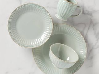 lenox French Perle Groove 4 Piece Place Setting  Ice Blue