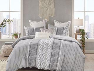 Imani Cotton Comforter Set Gray   Full Queen