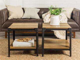 Walker Edisona Angle Iron Rustic Wood End Table Set of 2