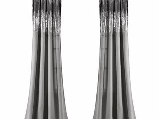 Set of 2  84x42  Shimmer Sequins light Filtering Window Curtain Panels Black Gray   lush DAccor