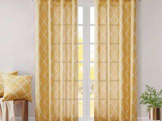 Sereno Fretwork Print light Filtering Curtain Panel Yellow