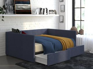 DHP Urban Daybed with Storage  Full Size Frame  Blue linen