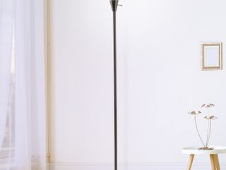 Torchiere Floor lamp Standing light with Sturdy Metal Base   Frosted Glass Shade Energy Saving lED Bulb   Black
