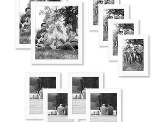 Americanflat 10 Piece Multi Pack White Frames  Includes Two 8x10 Frames  Four 5x7 Frames  Four 4x6 Frames