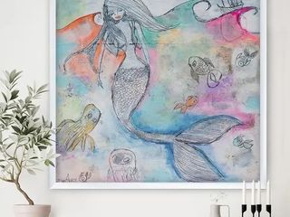 Designart  Mermaid Aura  Nautical   Coastal Art Print   30 in  wide x 30 in  high   White