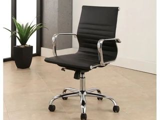 Samuel Silver Adjustable leather Office Chair by Abbyson   Black
