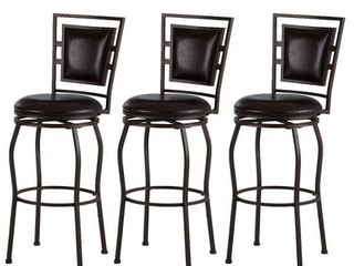 Townsend Adjustable Height Dark Brown Cushioned Bar Stool  Set of 3