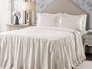Queen 3pc Ticking Stripe Bedspread Set Neutral   lush DAccor