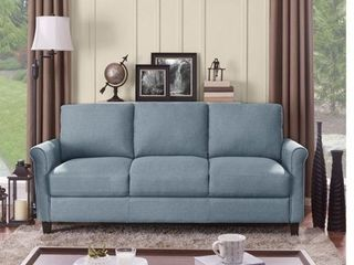 Handy living Calhan light Blue Textured linen Sofa  Retail 459 99
