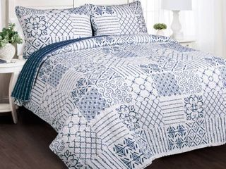 Monique 3 Piece Quilt  Full Queen  Blue   lush Decor