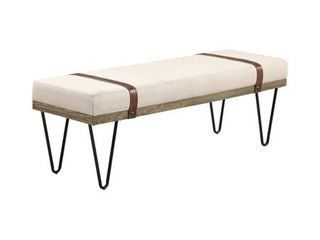 Upholstered Bench Beige and Black