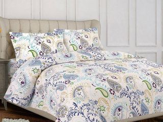 Tribeca living Paisley Garden 3 piece King  Cal King Duvet Cover Set