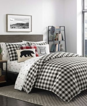 Eddie Bauer Mountain Plaid Black and Off White Twin Duvet Cover Set