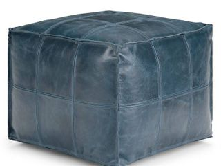 Simpli Home   Manning Square Contemporary leather Polystyrene Pouf   Teal