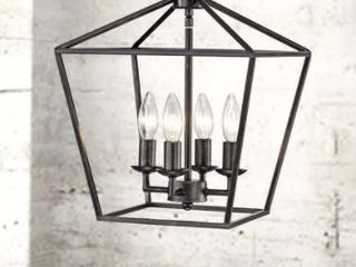 Ashley Antique Black 4 light Iron Cage Chandelier  Retail 94 99