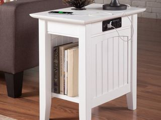 Nantucket Chair Side Table with Charging Station in White  Retail 128 82