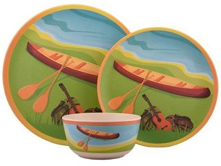Melange 12 Pcs Bamboo Dinnerware Set  Campers Kayak  Retail 112 30