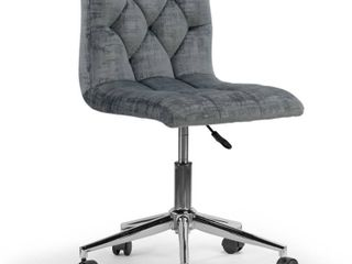 Amali Grey Velvet Adjustable Height Swivel Office Chair with Wheel Base  Retail 101 99