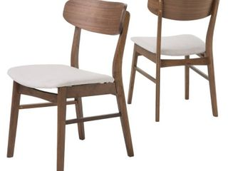 Christopher Knight Fabric Upholstered Wood Dining Chairs  Set of 2  Retail 155 49