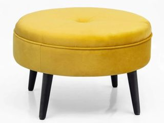 Carson Carrington Juttersbo Round Tufted Fabric Ottoman  Retail 77 48