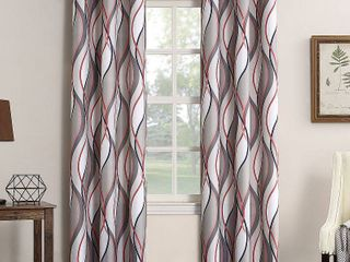 No  918 Intersect Grommet Woven Print Window Curtain Panel Pair