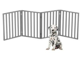 Wooden Pet Gate  Foldable 4 Panel Indoor Barrier Fence  Freestanding 72 x24  by PETMAKER