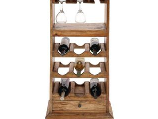 Rustic 44 x 19 Inch Wood Wine Cabinet with Stemware Rack by Studio 350  Retail 155 99