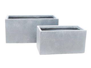 Set of 2 Kante lightweight Outdoor long low Granite Concrete Rectangular Planters Slate Gray   Rosemead Home   Garden  Inc