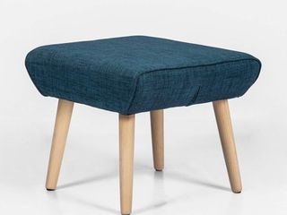 Adeco Modern Simple Nordic Fabric Ottoman Seat Stool  21x18x17  Deep Blue