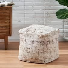 Colane Hand loomed Boho Fabric Cube Pouf by Christopher Knight Home