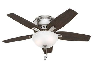 42 in Newsome low Profile Ceiling Fan Silver Chrome  Includes Energy Efficient light    Hunter