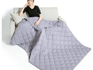 Cloud Weighted Blanket Cool Twin Size Adults  100  Natural Cotton  light Grey  15lB   48 72