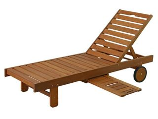 Furinno FG17744 Tioman Outdoor Hardwood Patio Furniture Sun lounger with Tray in Teak Oil  Natural
